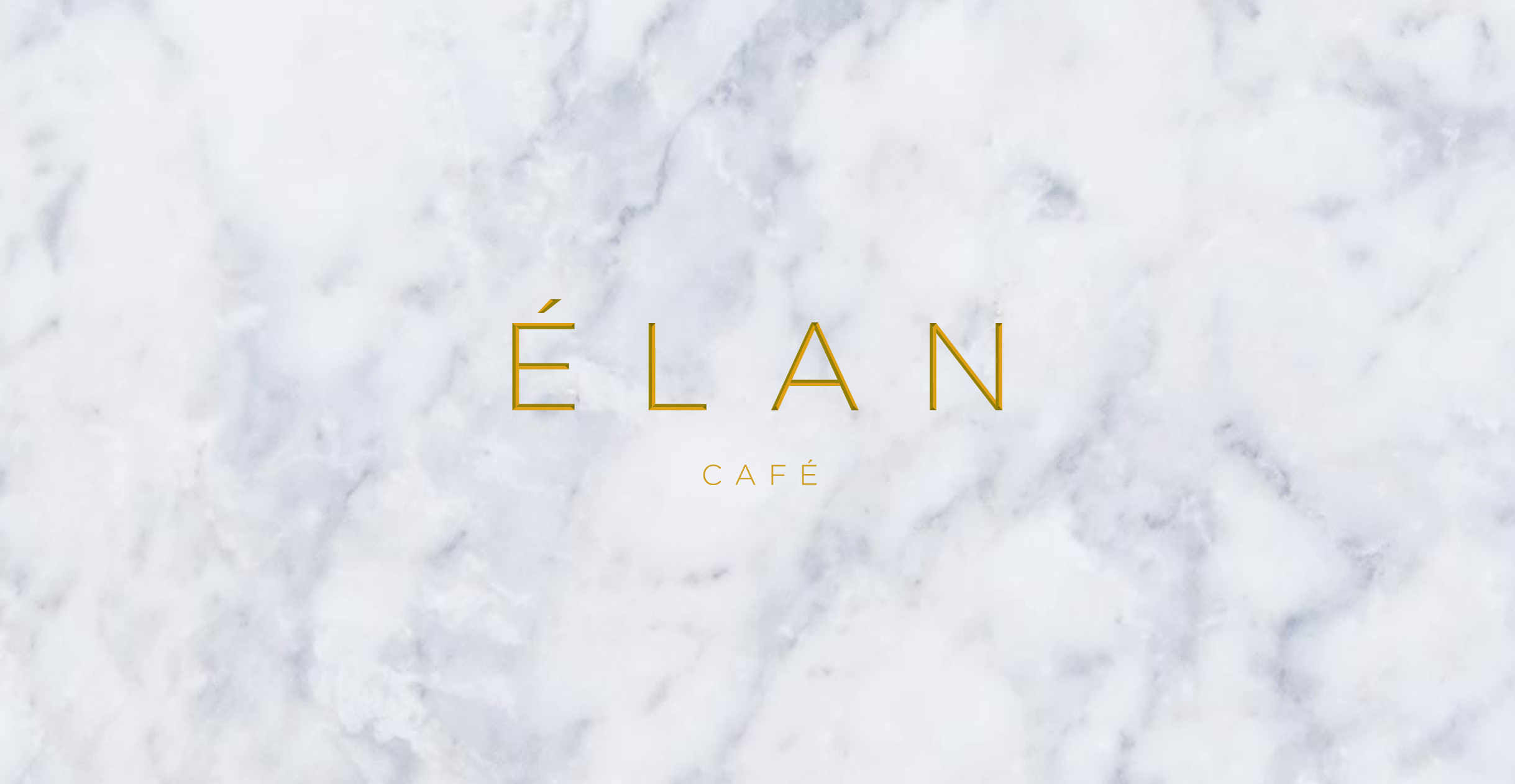 Elan Café logo on a marble background