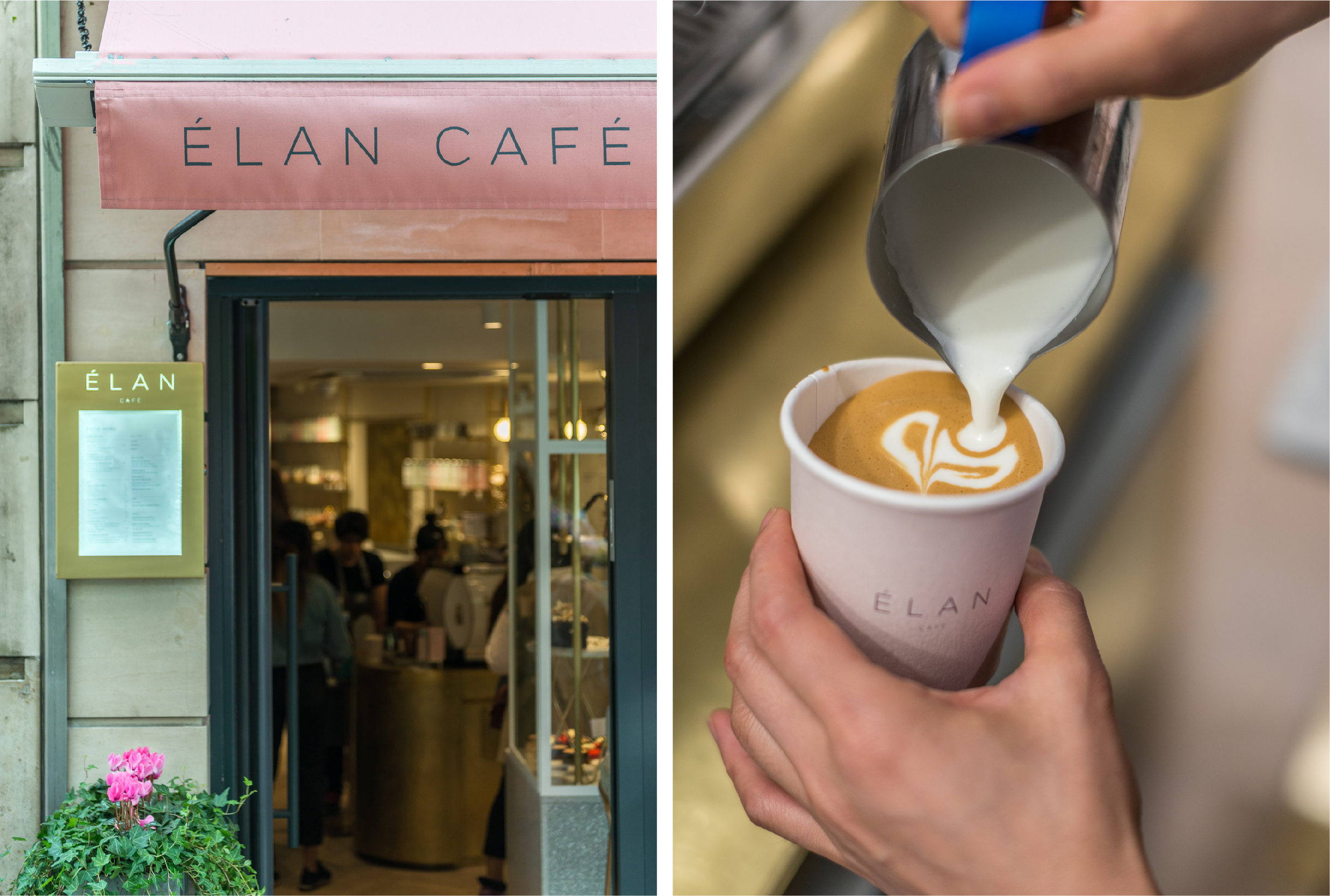 Elan signage and barista pouring milk into a branded coffee cup