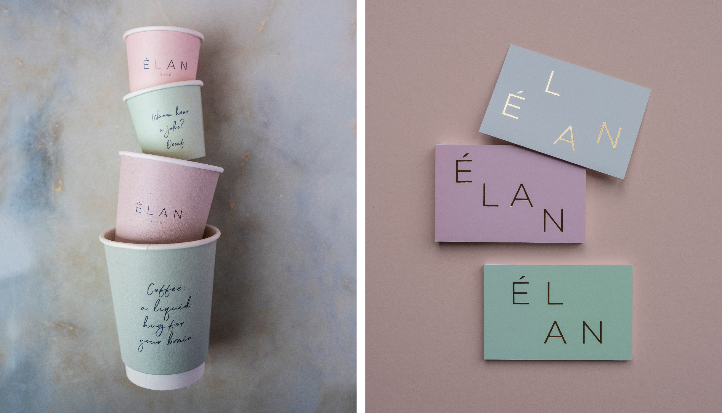 Branded coffee cups on a marble background and gold foil loyalty business cards