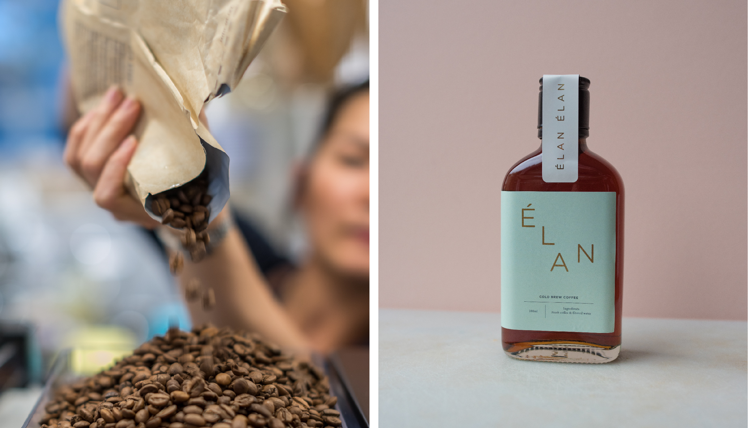 Coffee beans pouring and coffee cold brew bottle packaging