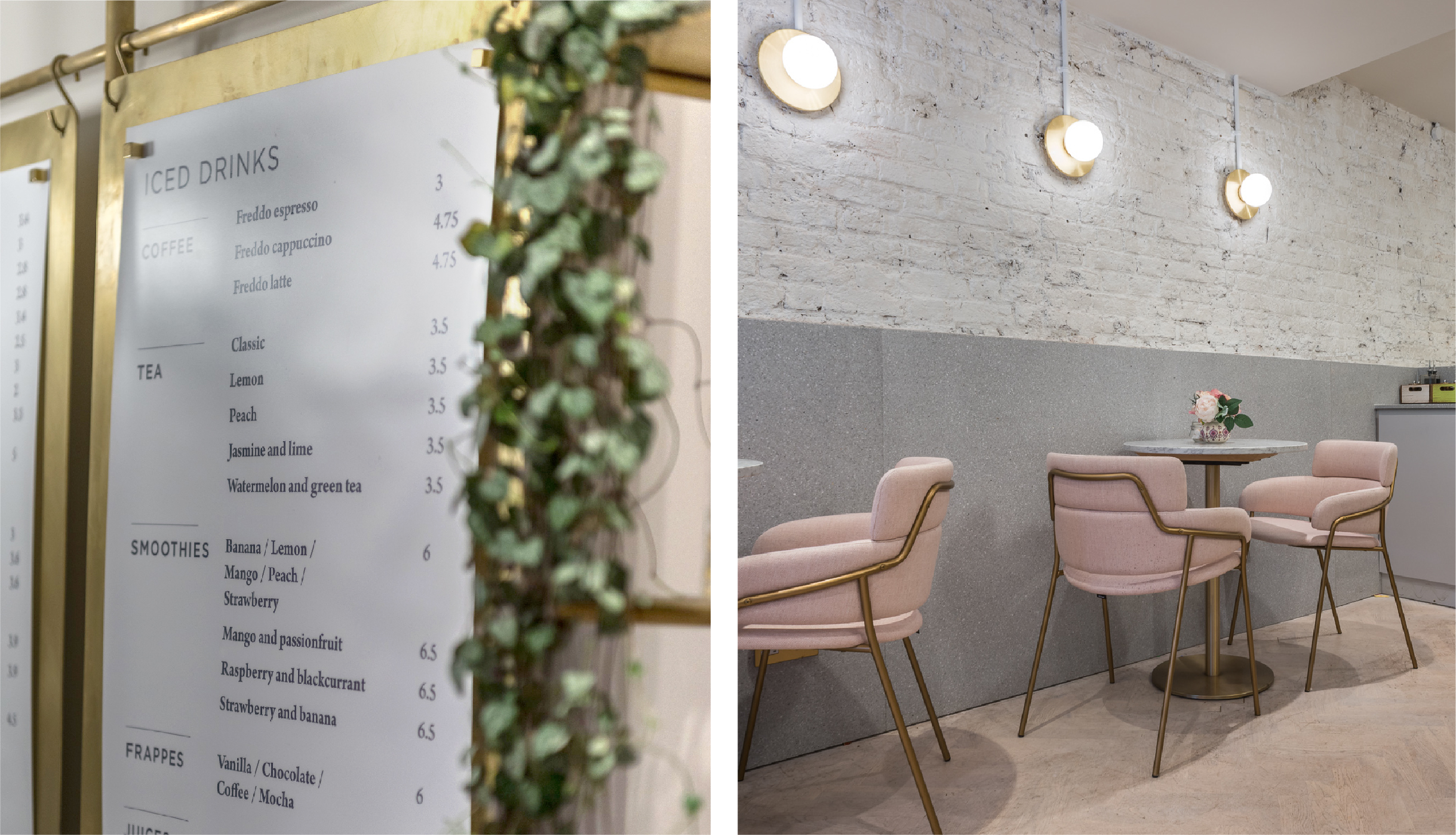 Branding - Hanging menu design and interior of Elan Café