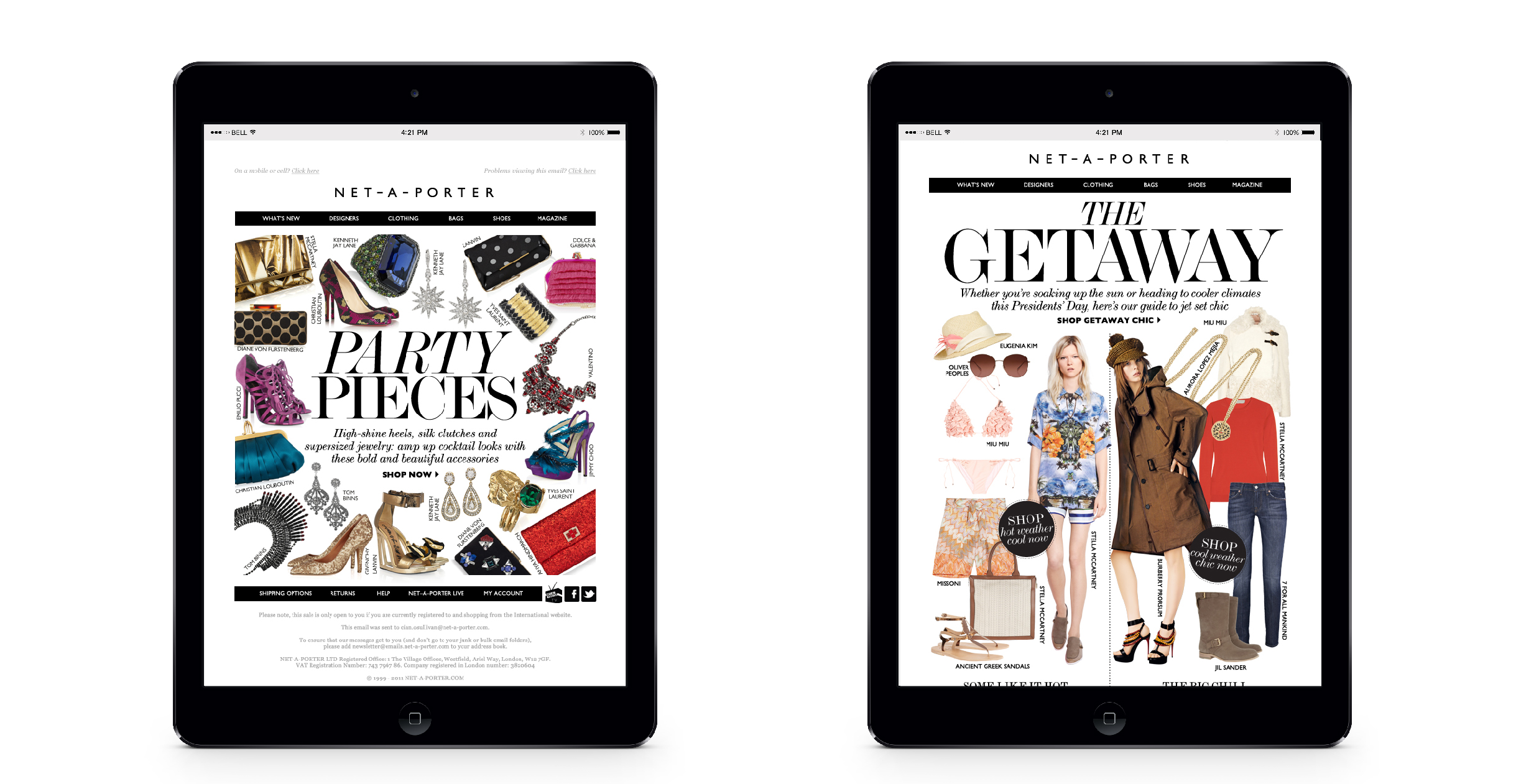 Email designs for luxury fashion e-commerce retailer Net-A-Porter