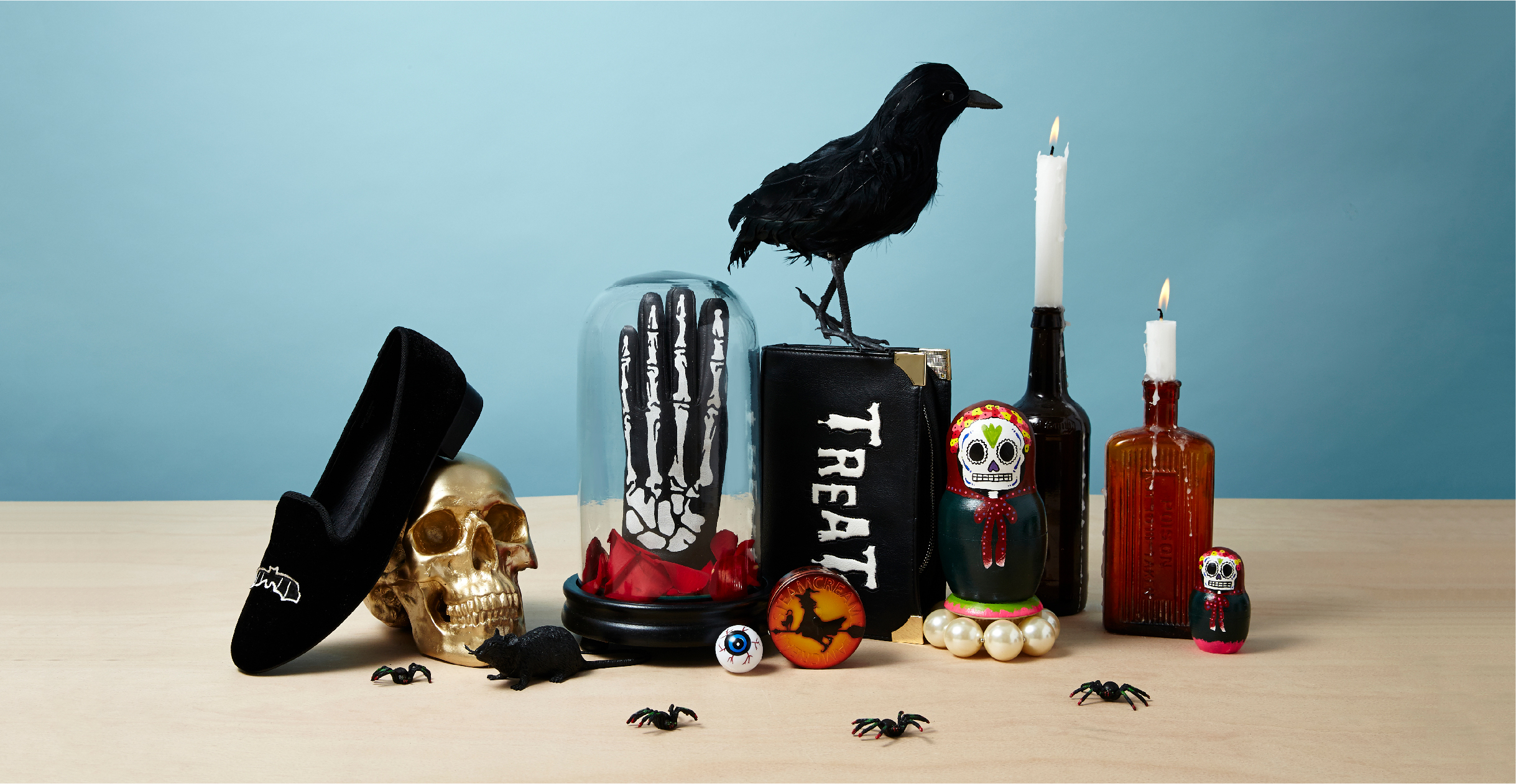 Group shot art direction still life of Halloween fashion