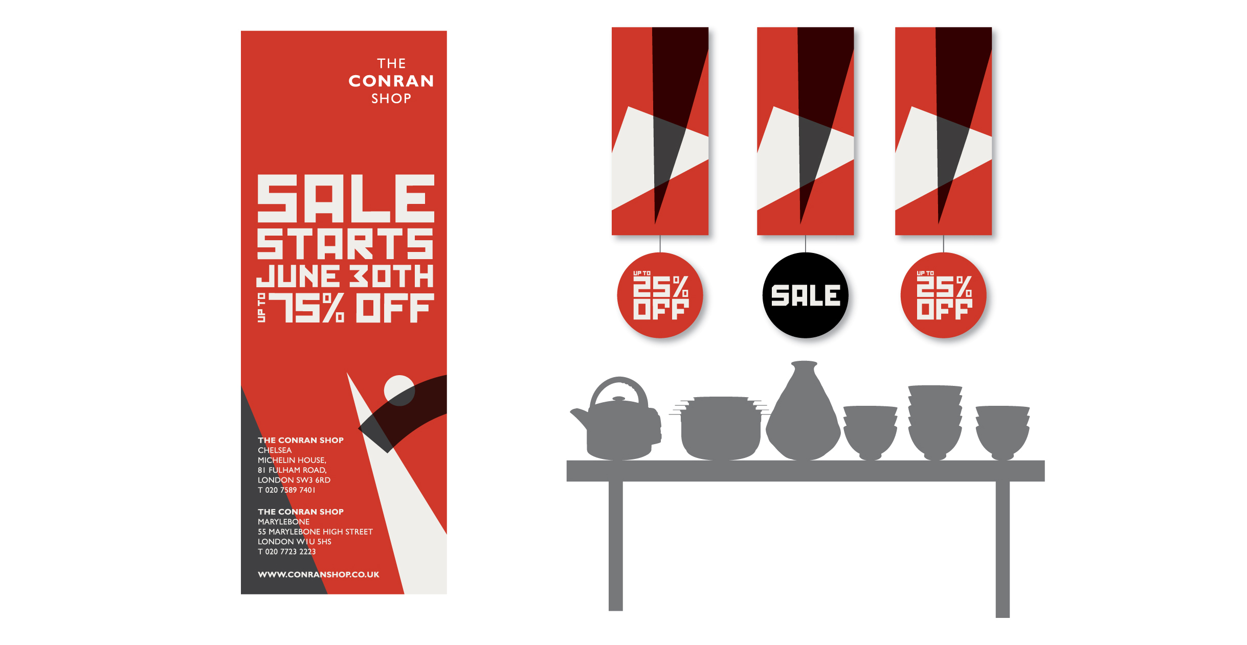 Sale banner and hanging signage for The Conran Shop sale POS