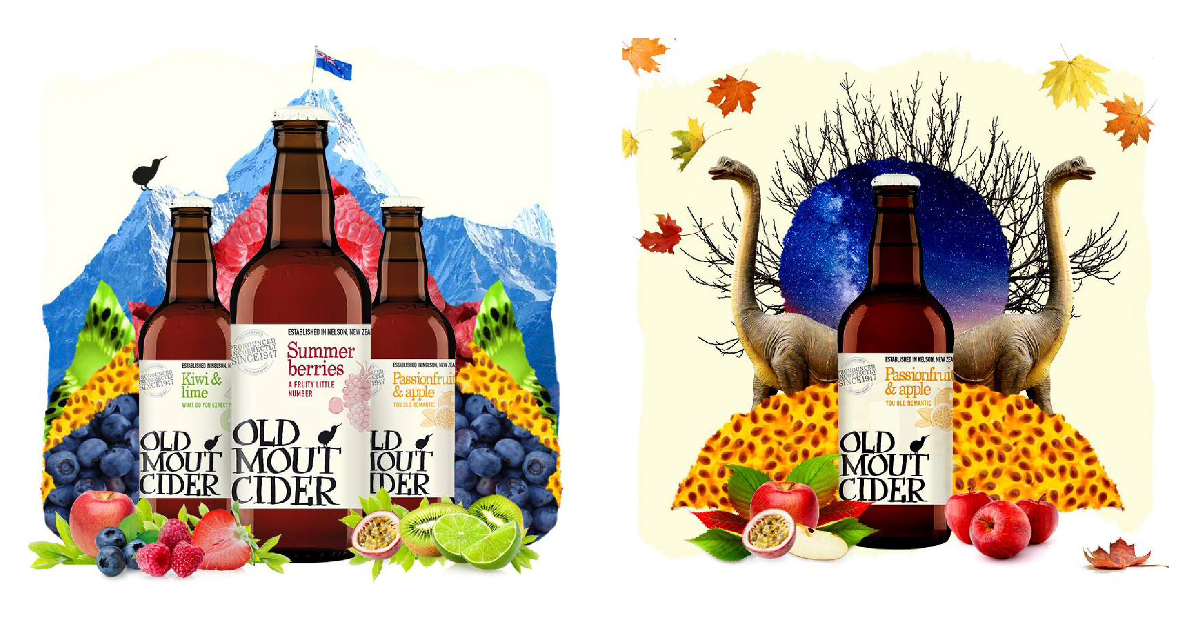 Social media collages for Old Mout Cider launch - Everest and dinosaurs