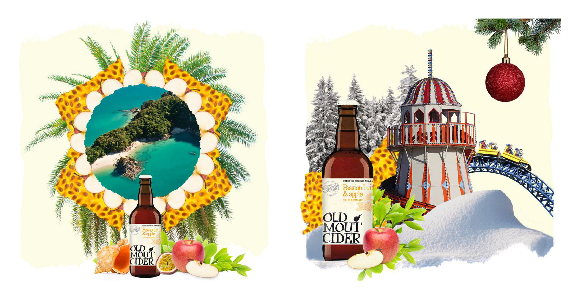 Social media collages for Old Mout Cider launch in the UK - tropical island and winter wonderland promotions