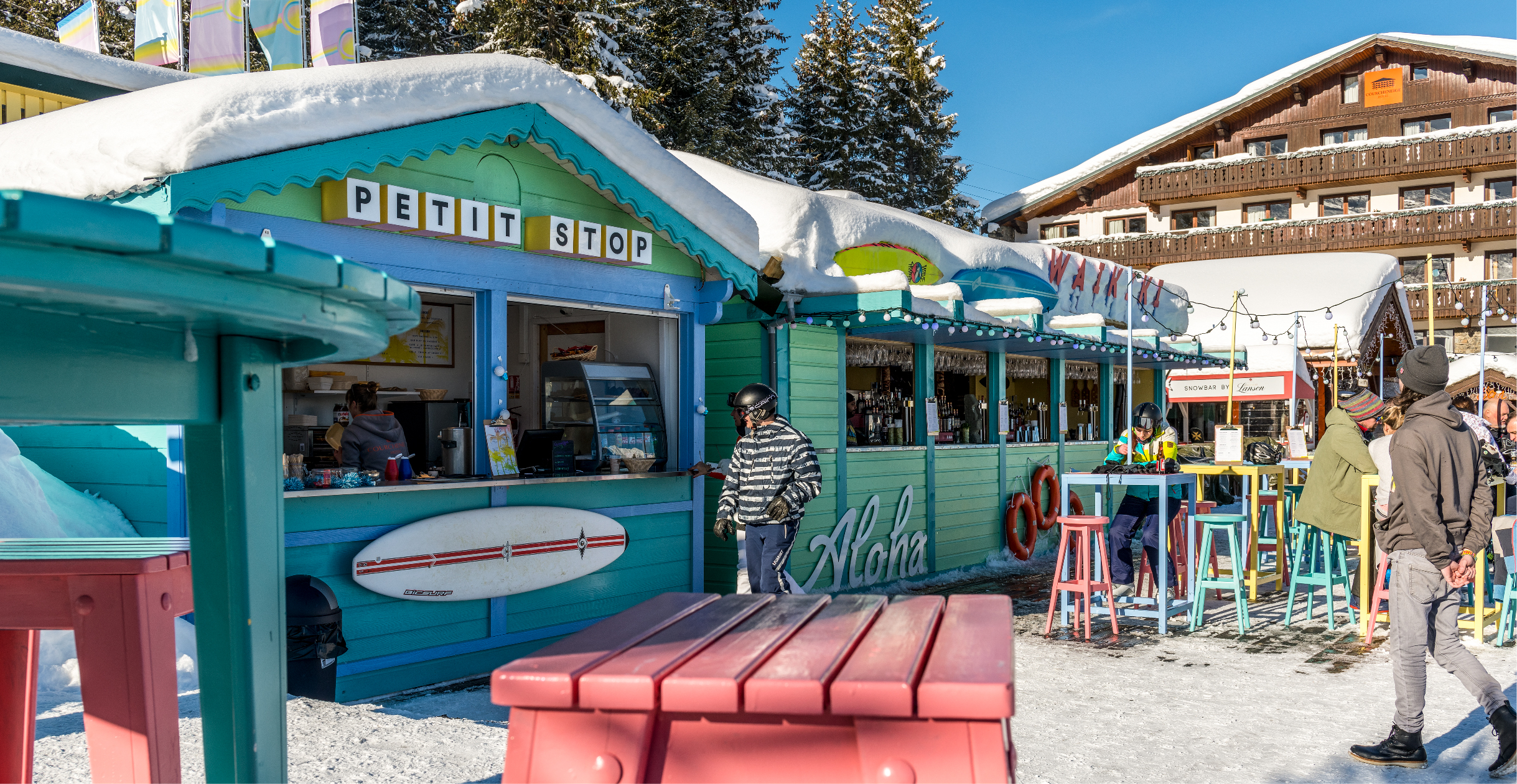 View of food kiosk Petit Stop. Signage design for Waikiki Courchevel