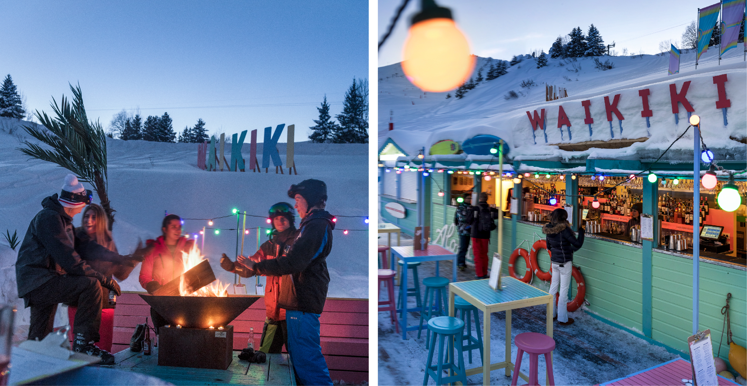 Skiers around the fire pit and bar of Waikiki Courchevel 1850