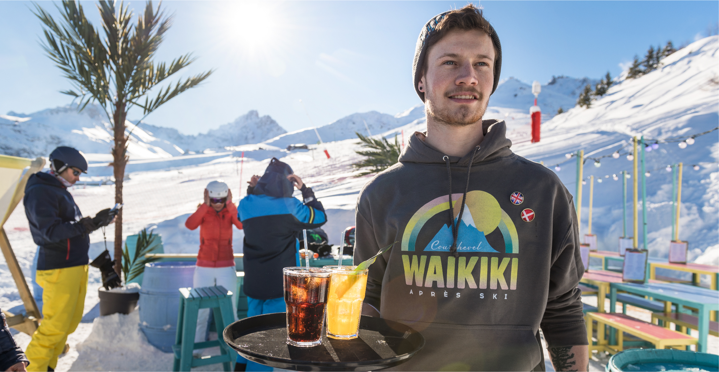Waiter wearing uniform design for Waikiki Courchevel 1850