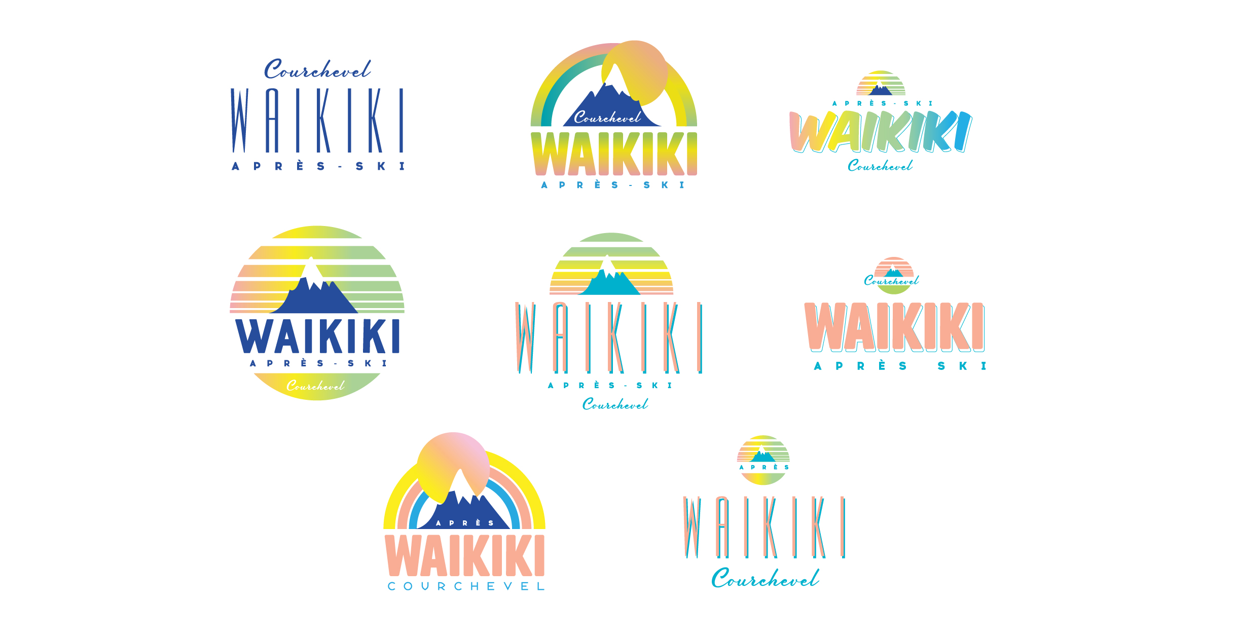 Various logo designs for Waikiki - a new bar in Courchevel 1850